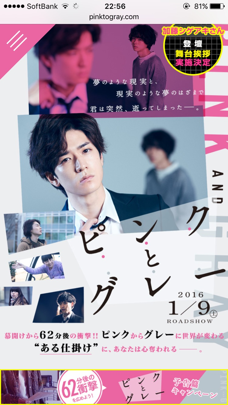 2016.1.9公開【ピンクとグレー】〜10秒で読める映画レビュー〜